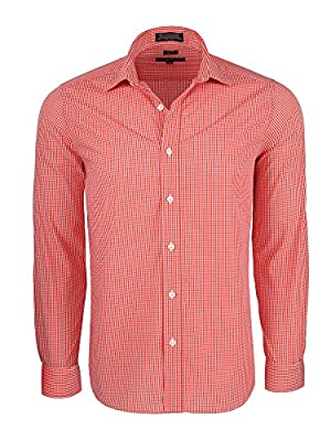 Marquis Signature Men's Slim Fit Gingham Check Dress Shirt - Many Colors Available