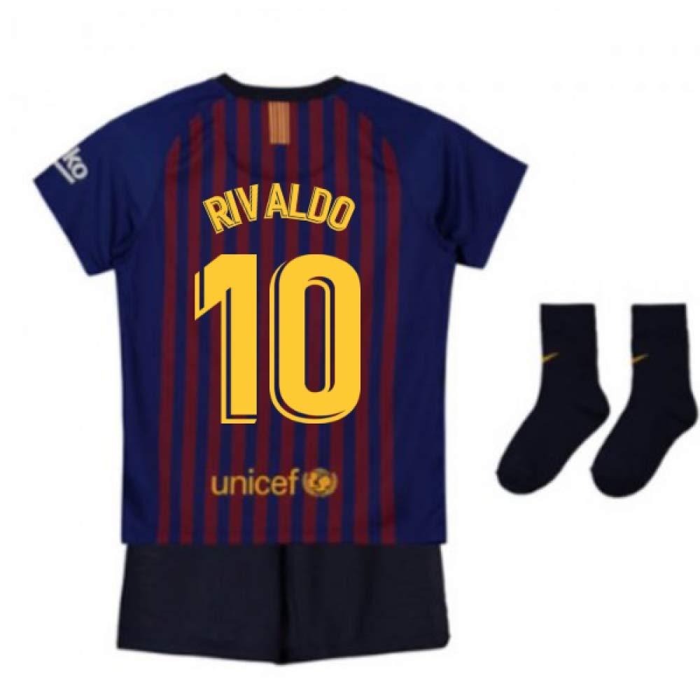 UKSoccershop 2018-2019 Barcelona Home Nike Baby Kit (Rivaldo 10)