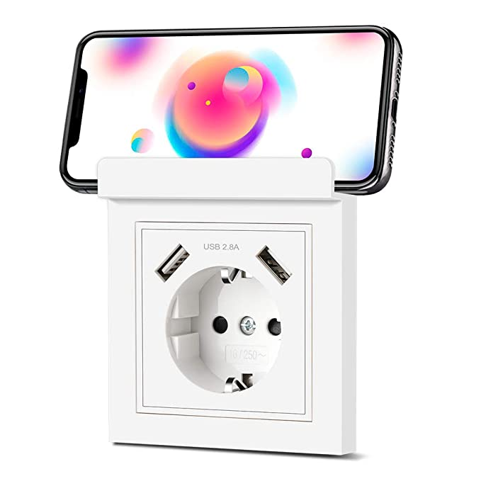 Enchufe USB Pared con Soporte Del Teléfono, Schuko Tomas con 2 Puertos USB 2.8A, Cargador para Dispositivos Móviles (Smartphone MP3 Cámara, etc.