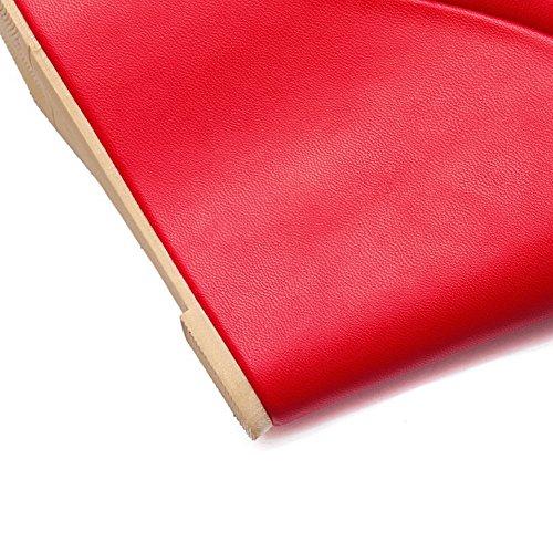 AllhqFashion Mujeres Hebilla Plataforma Sólido Puntera Redonda Cerrada De salón Rojo