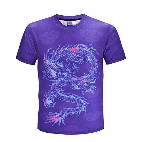 ANJUNIE Men's New 3D Flood Printed T-Shirt Short-Sleeved Casual Top Blouse (Purple,XXXL) ()
