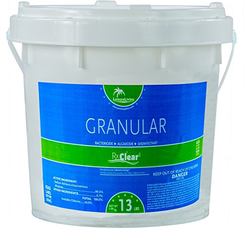Rx Clear Stabilized Granular Chlorine | One 13-Pound Bucket | Use As Bactericide, Algaecide, and Disinfectant in Swimming Pools and Spas | Slow Dissolving and UV Protected