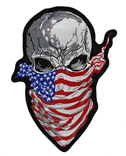 Patch Bandana - Ruthless Skull US Flag Bandana Patch | Patriotic Iron On Embroidered for Motorcycle Jacket- by Nixon Thread Co. (11.5