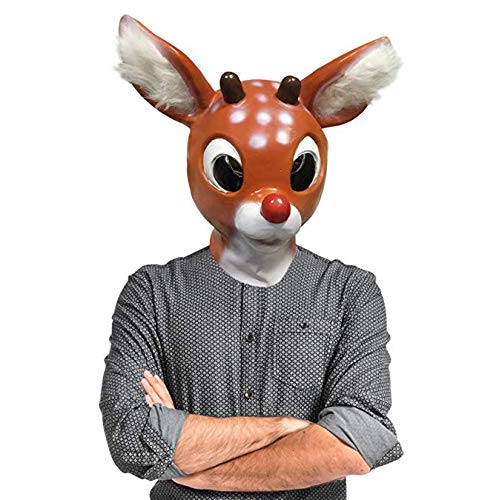 Vintage Style Holiday Christmas Red Nose Reindeer Mask ()
