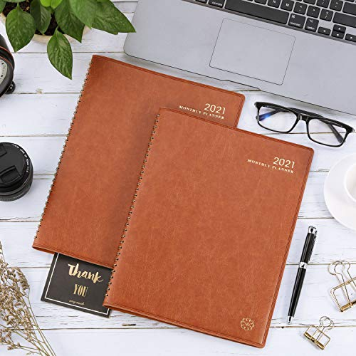 """2021 Monthly Planner- Monthly Planner 2020 with Monthly Tabs, 8.7"""" x 11.4"""" Faux Leather Soft Cover, Twin-Wire Binding + Inner Pocket"""