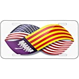 Infinity Flags USA and Mallorca region Spain Metal License Plate 6X12 Inch
