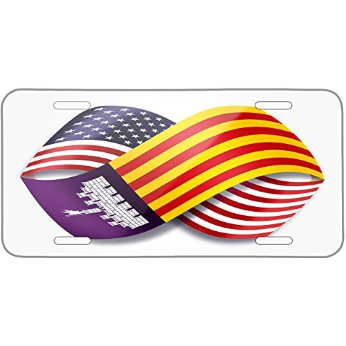Infinity Flags USA and Mallorca region Spain Metal License Plate 6X12 Inch by Saniwa