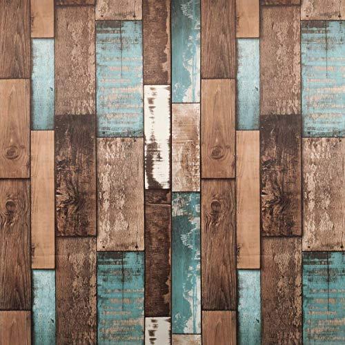 "Vimoon Wallpaper HD Removable Wallpaper, Faux Wood Plank Wallpaper, Waterproof Peel and Stick Textured Wallpaper(17.71"" Wide x 236. 2"" Long) (Retro Blue)"