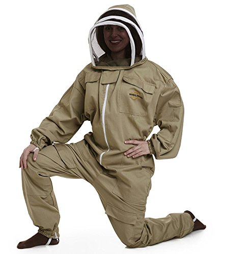 NATURAL APIARY BEEKEEPING SUIT - KHAKI - MEDIUM - Complete, Full (All-in-One) - Fencing Veil - Easy to Wear & Remove - Bee Proof Seals - Professional & Beginner Beekeepers