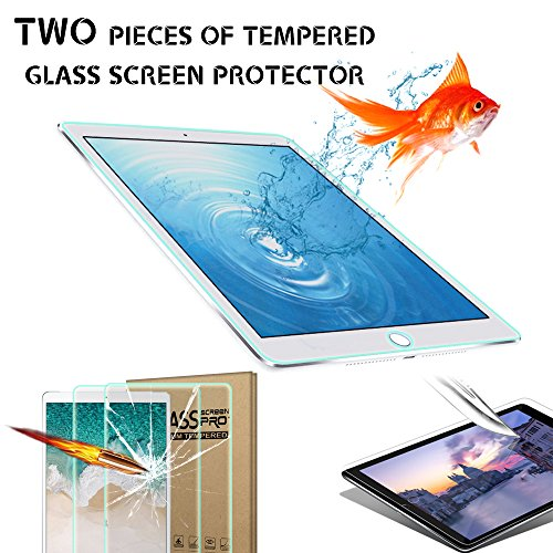 [2 Pack] iPad 2017&2018 9.7 Screen Protector, 9H Hardness Ultra Clear [Anti-Scratch] Tempered Glass Screen Protector for for All-New iPad 9.7 (2017&2018) / Air 1 / Air 2/ Pro 9.7 Tablet