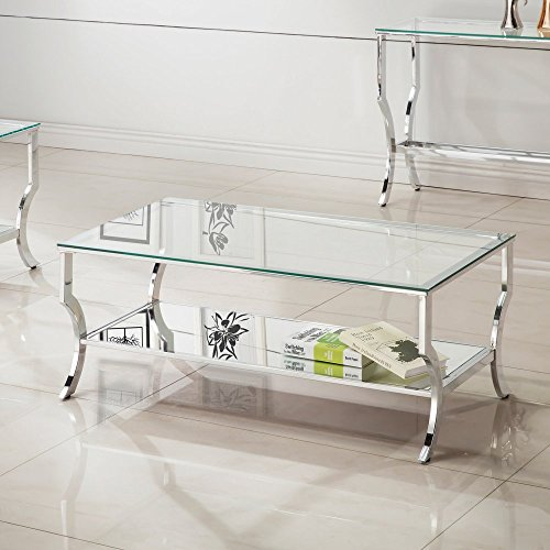 Coaster Furniture Rectangular Glass Top Coffee Table with Base