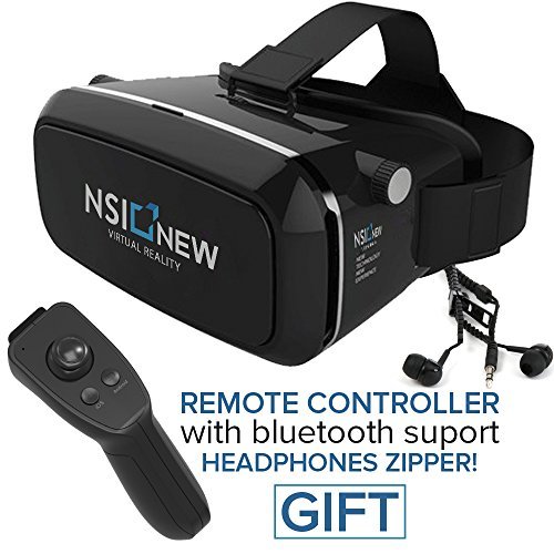 NSInew VR Headset - Best 3D VR or Virtual Reality Glasses - HD Immersive 3D Gaming Glasses - Magnetic Front Cover, Adjustable Strap - Bonus Bluetooth Remote & Headphones Zipper