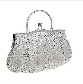 Retro Handmade Evening Bag Deaded Cocktail Party Bridal Clutch Glitter Purse