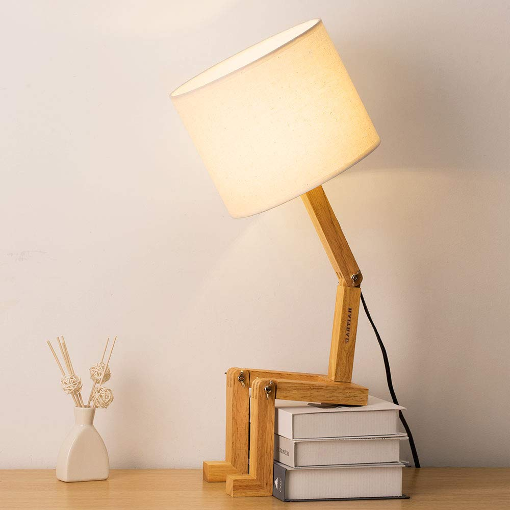 Haitral Swing Arm Desk Lamp Modern Creative Table Lamp Natural Wood Bedside Nightstand Lamp For Bedroom Study Office Work Kids Room Ideal Gifts