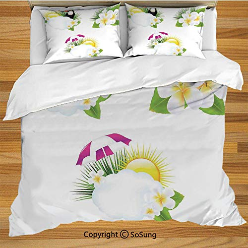 SoSung Tropical Animals Queen Size Bedding Duvet Cover Set,Different Type of Small Fishes Collection Cute Group of Sea Creatures Flow Sign Decorative 3 Piece Bedding Set with 2 Pillow Shams,Multi