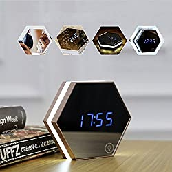 Bigaint Mirror Alarm Clock Rechargeable Digital Alarm Clock with Led Table Lamp for Travel and Home