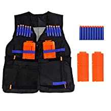Kids Elite Tactical Vest With10 Pcs Soft Foam Darts and 2 Pcs Plastic Magazines Clip for Nerf Gun N-strike Elite Series