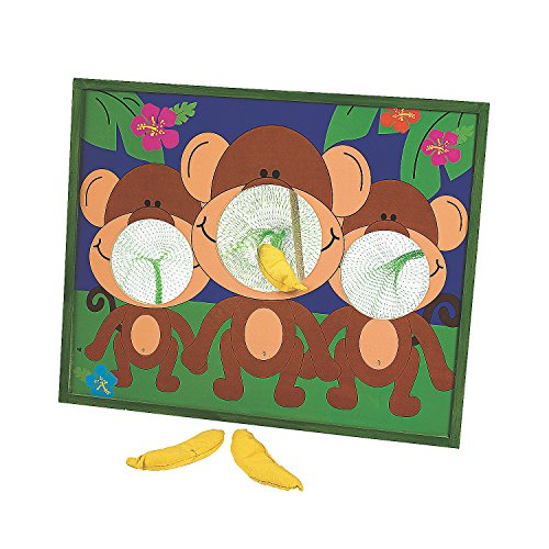 Game Toss Animal Bean Bag - Fun Express - Going Bananas! Monkey Bean Bag Toss - Toys - Games - Bean Bag Toss - 4 Pieces