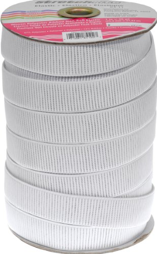 Stretchrite 1-Inch by 30-Yard White Ribbed Non-Roll Woven Polyester Elastic Spool (Stretch Elastic Cross Roll)