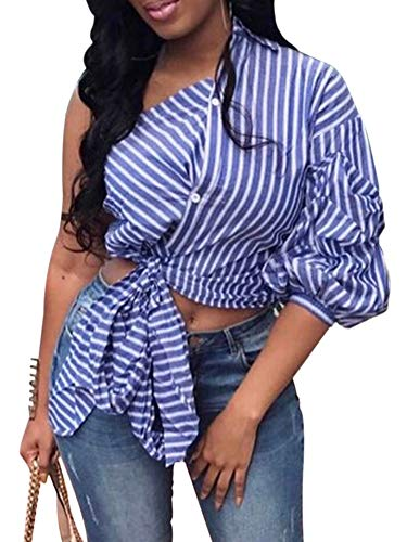 Womens Tie Knot Tops Stripe Button Down Irregular One Shoulder Shirts Summer Casual Blouse Clubwear Blue XXL