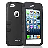 iPhone 5 Case,iPhone 5S Case, Hybrid Hard Heavy Duty Three Layer Hard and Soft Skin Shockprooof Armor Case Cover for Apple iPhone 5 5S (Black)
