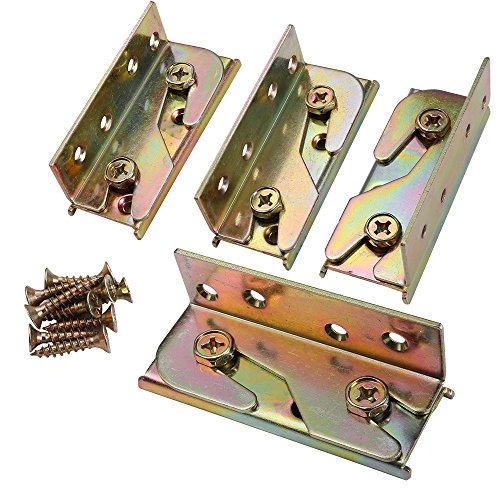 SUNVORE Bed Rail Bracket - Bed Rail Fittings - Heavy Duty Non-Mortise - Set of 4 (Screws - Bed Hardware Headboard