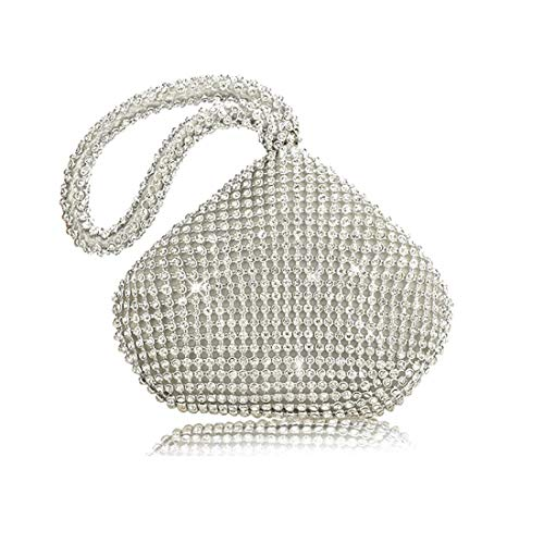Vistatroy Women's Evening Bag Sparkly Rhinestone Purse Triangle Designer Chain Clutch Purse Bag Party Prom Wedding Purse(A Silver) (Designer Evening Clutch Bag)