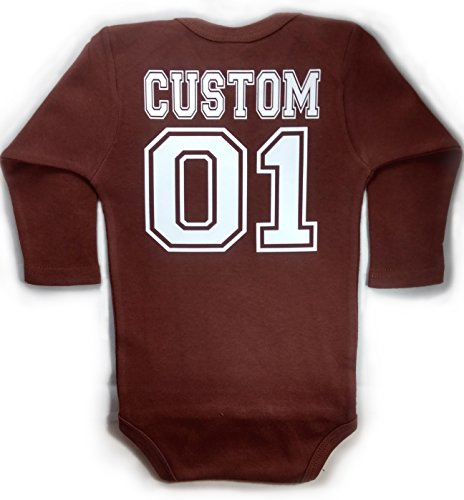 - Baby Football LONG SLEEVE with CUSTOM Personalized Back Baby Bodysuit Brown Unisex (6-12 months (Medium))