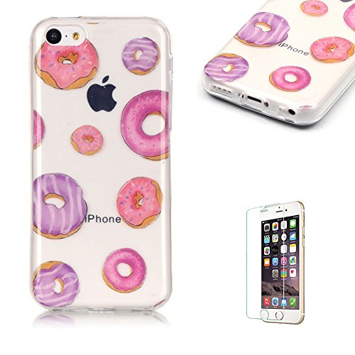 iPhone 5C TPU Case with Free Screen Protector,Funyye See Through Transparent Soft Rubber Silicone Gel TPU Bumper Ultra Thin Colourful Print Design Protective Case - Donuts