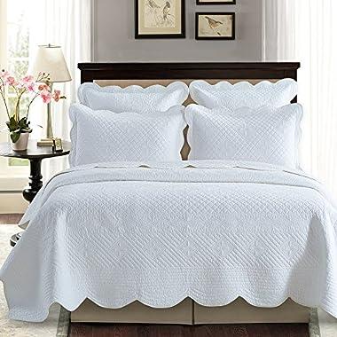 Sage Garden Luxury Pure Cotton Quilt By Calla Angel, King, White