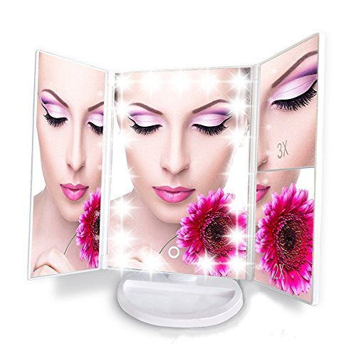 Artifi Lighted Makeup Mirror with 21 LED Lights, Touch Screen Cosmetic Mirror Lighted Vanity Mirror with 3X/2X/1X Magnification, 2 Power Supply Mode (White)