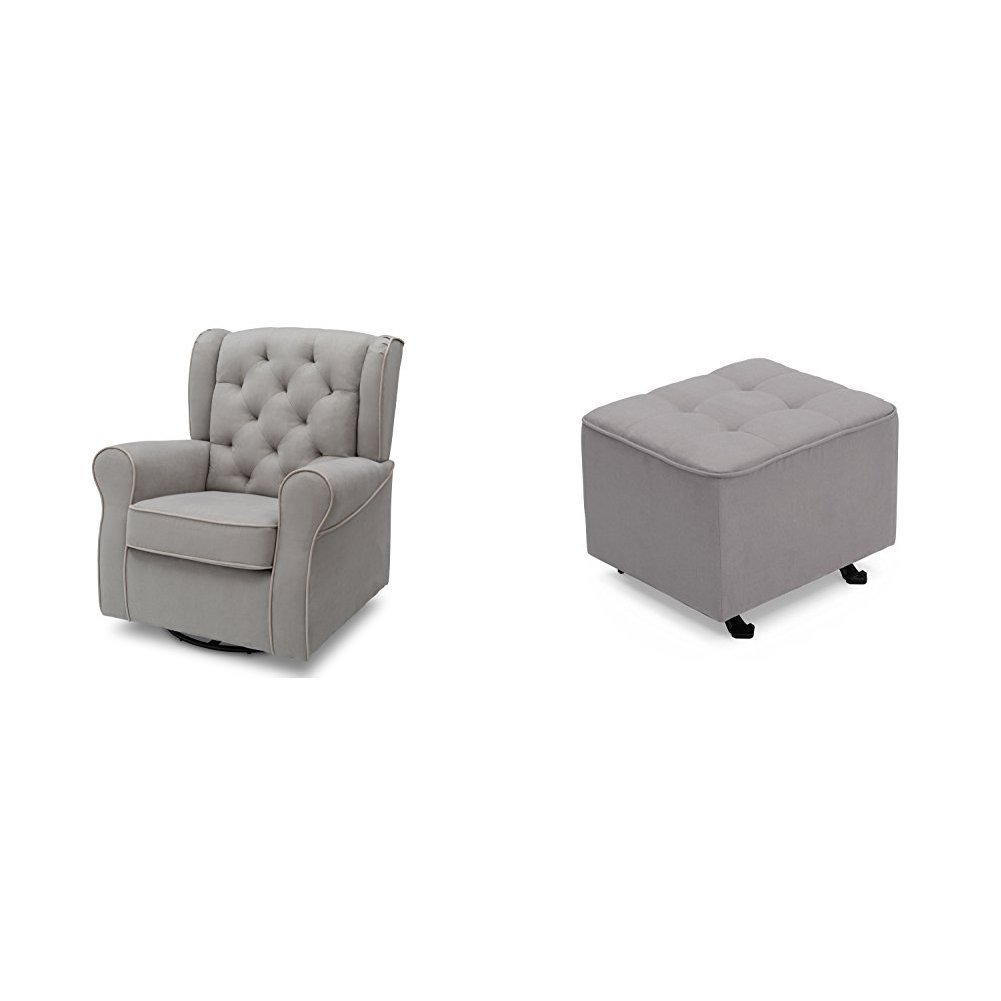 Delta Furniture Emerson Glider Swivel Rocker Chair with Tufted Gliding Ottoman, Dove Grey with Soft Grey Welt