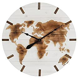 NIKKY HOME 30 Inches Vintage World Map Engraved Wood Large Wall Clock