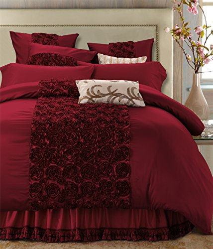 6-Piece Extra Large Ruffled Burgundy-Red Duvet Cover Set with 3D Roses,Allergy Free Cotton Roman ...