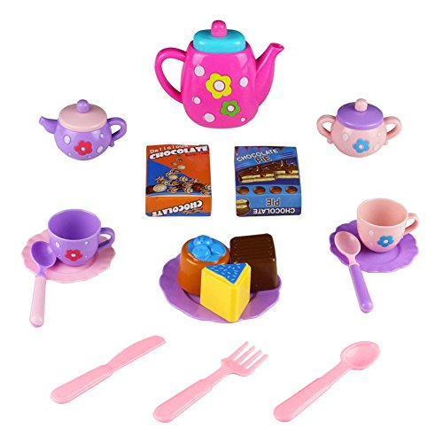 jerryvon Tea Set Kitchen Playset Pretend Play Role Game Tea Party Set with Teapot Kettle Cups Spoon Fork for Kids Boys Girls 3 4 5 Years Old