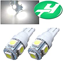 YINTATECH 2 PCS T10 Wedge 5-SMD 5050 White LED Light bulbs W5W 2825 158 192 168 194