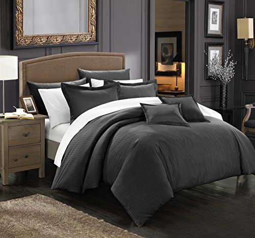 Down Piece 5 Set (Perfect Home 5 Piece Kennon Down Alternative Jacquard Striped Comforter Set, Bedding Basics, Twin, Black)
