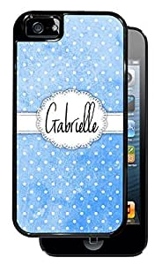 New Style Blue White Polka Dot Monogram - Black iPhone 5, 5S Dual Protective Durable Case