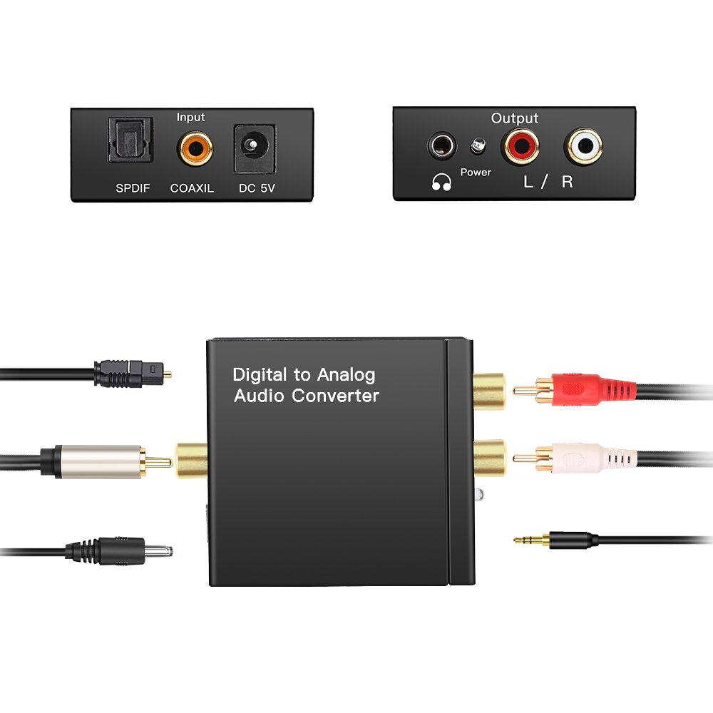 Amazon.com: Digital to Analog Audio Converter Digital Optical Toslink Coaxial Inputs to RCA Audio Adapter and AUX 3.5mm Jack(Headphone) Outputs - Optical ...