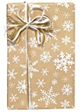 TAN & WHITE SNOWFLAKE Christmas Gift Wrap Wrapping Paper - 16ft Roll