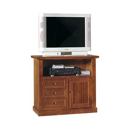 Mobile porta tv, stile classico, in legno massello e mdf con rifinitura in  noce lucido - Mis. 84 x 40 x 80