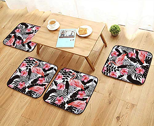 UHOO2018 Universal Chair Cushions Tropic Animals Birds Parrot in The Jungle Plant Wallpaper Personalized Durable W15.5 x L15.5/4PCS Set