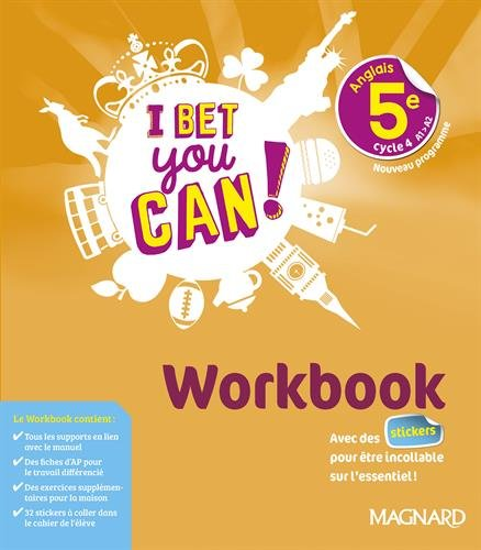 Anglais 5e I bet you can! : Workbook Broché – 8 mars 2018 Michelle Jaillet Magnard 2210107903 Collège
