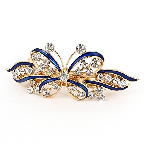 TOOGOO Ladies Hair Barrette Bow Glittering Crystal Stone Decor French Hair Clip Clip Brace Blue + Gold ()