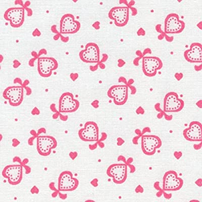 Tela rosa - Corazones y lazos - 100% algodón suave | ancho: 150 cm ...