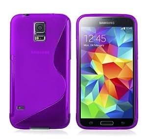 2en1 purple púrpura TPU gel Funda CARCASA X1 film X 1 para Samsung Galaxy S5 i9600 GT-i9600 G900F