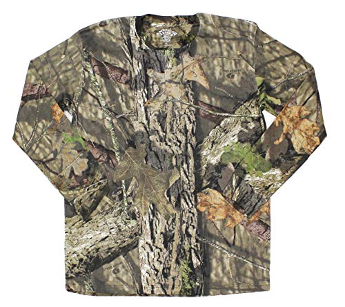 Mossy Oak Long Sleeve Henley Camo Shirt Men, Tree Camo, Large