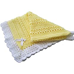 Cro-Kits Baby Blanket Crochet Kit Complete with Yarn, Crochet Hook, Weaving Needle, Ribbon and Easy to Follow Instructions. (Lemon)