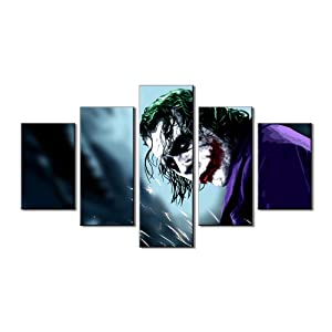 Pangoo Art 5 Piece Frameless Printed Dark Knight Joker Movie Poster Prints Canvas Pictures Paintings on Canvas Wall Art for Home Decor Unframed Poster
