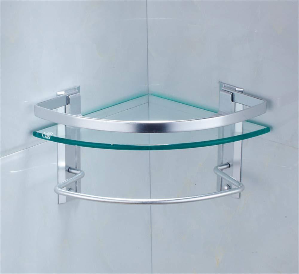 KIEYY Espacio Aluminio Templado Bañ o De Vidrio Trí pode Bañ o Estante Soporte De Pared Cosmé tico Estante De Almacenamiento Engrosamiento